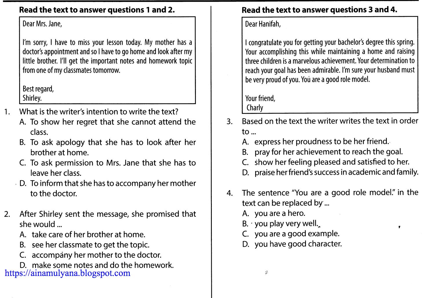 Soal dan Jawaban Latihan  Ujian Nasional SMP Bahasa Inggris Paket A
